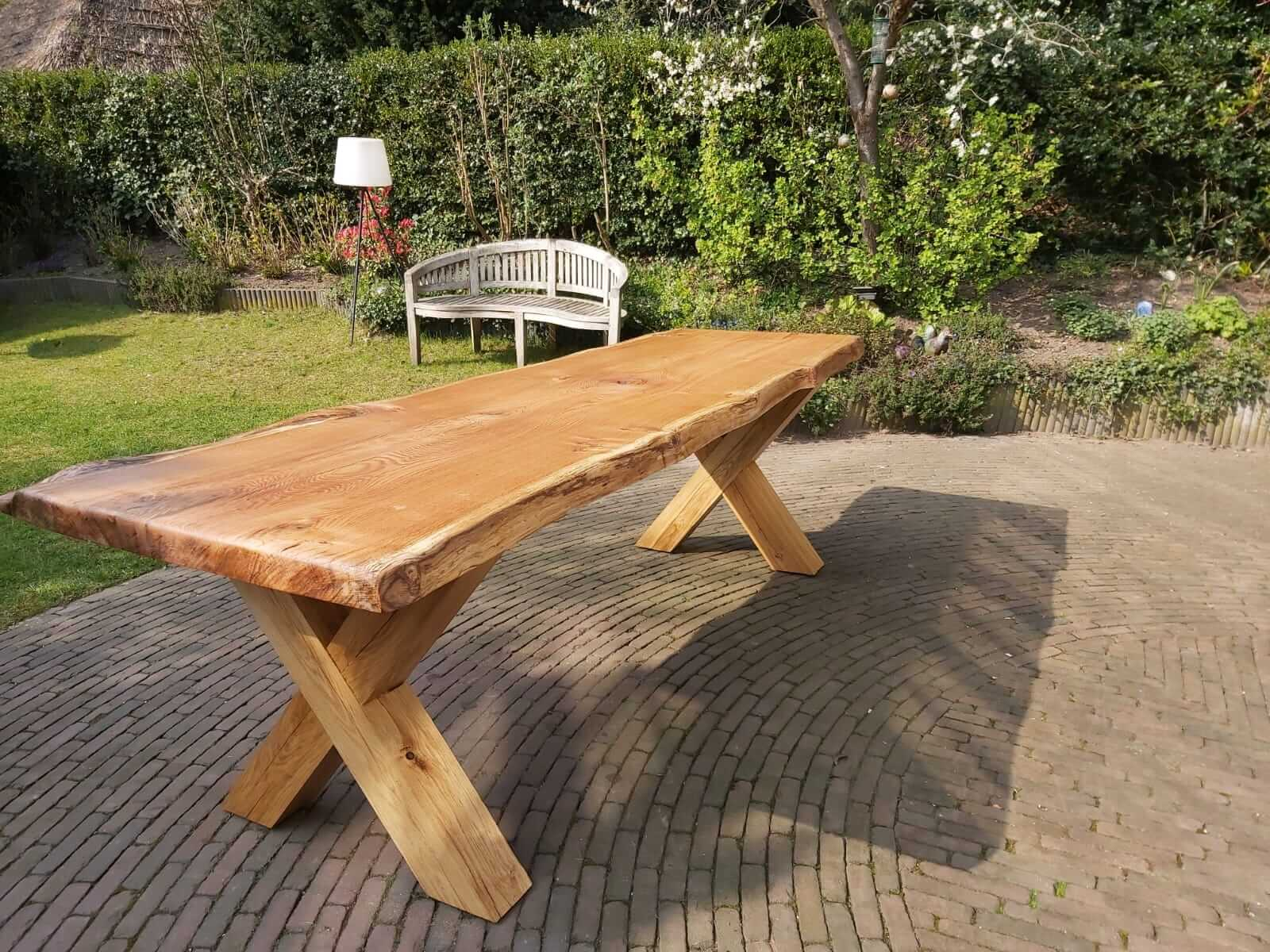 Boomstamtafel eikenhout houten poten